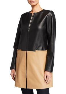 Neiman Marcus Plus Size Zip-Front Colorblock Topper Jacket