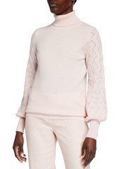 Neiman Marcus Pointelle Sleeve Cashmere Turtleneck Sweater
