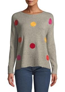 Neiman Marcus Polka-Dot Crew-Neck Sweater