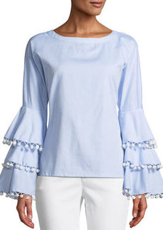 Neiman Marcus Pompom Blouse with Bell Sleeves