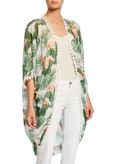 Neiman Marcus Pompom Leaf-Print Kimono