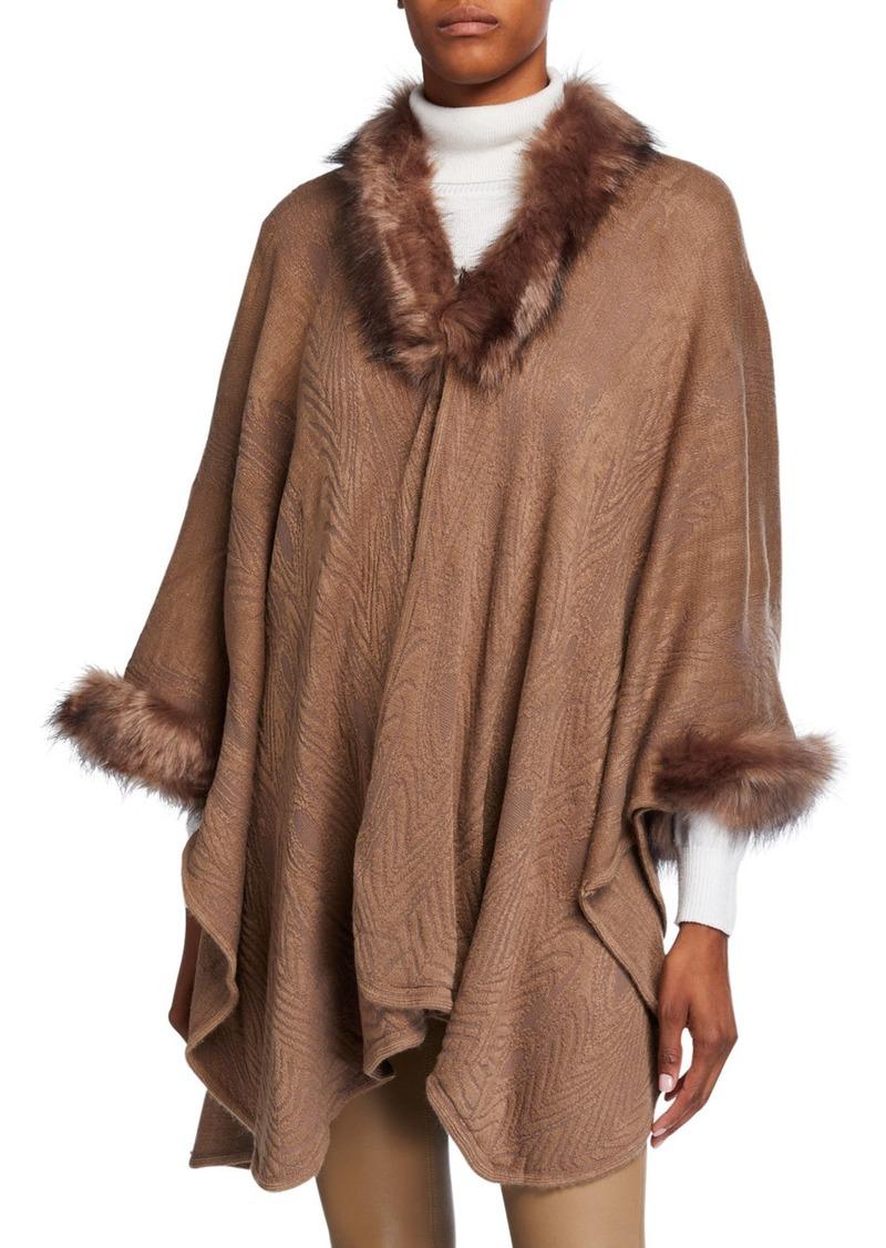 Neiman Marcus Poncho w/ Faux Fur Trim