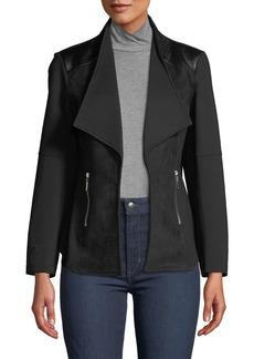 Neiman Marcus Ponte Moto Jacket with Faux Leather Trim