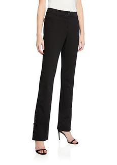 Neiman Marcus Ponte Pant With Button Detail