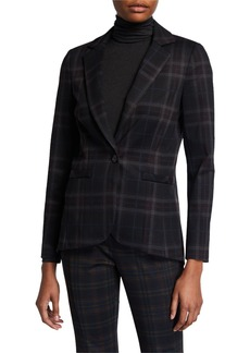Neiman Marcus Ponte Plaid High-Low Blazer