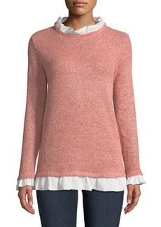 Neiman Marcus Poplin-Ruffle Trim Sweater