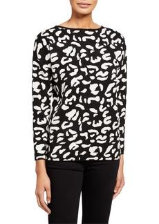Neiman Marcus Printed Long-Sleeve Sweater