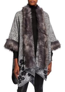 Neiman Marcus Printed Poncho w/ Faux Fur Trim