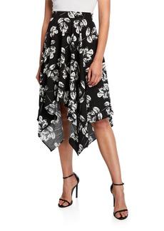 Neiman Marcus Printed Sharkbite Midi Skirt
