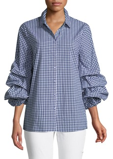 Neiman Marcus Puff-Sleeve Button-Front Gingham Blouse