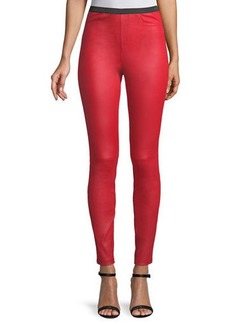 Neiman Marcus Pull-On Lamb Leather Leggings