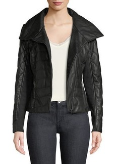 Neiman Marcus Quilted Lamb Leather Jacket