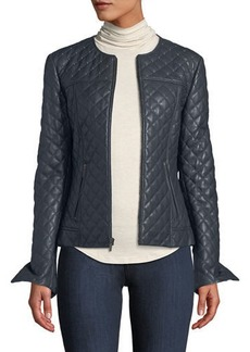 Neiman Marcus Quilted Short Leather Moto Jacket w/ Stud Trim