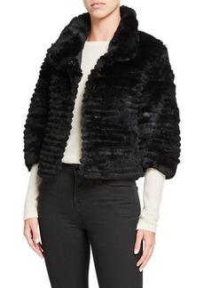 Neiman Marcus Rabbit Fur 3/4-Sleeve Bolero
