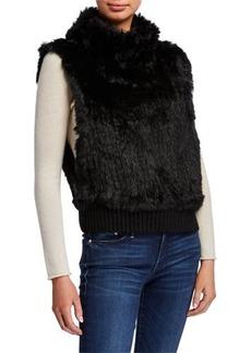 Neiman Marcus Rabbit Fur Cowl-Neck Pullover Vest