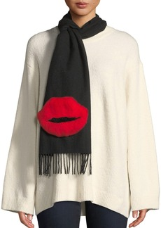Neiman Marcus Rabbit Fur Lips Cashmere Scarf
