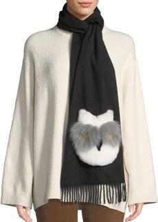 Neiman Marcus Rabbit Fur Owl Applique Cashmere Scarf