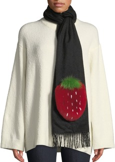Neiman Marcus Rabbit Fur Strawberry Applique Cashmere Scarf