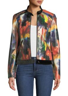 Neiman Marcus Rainbow-Print Leather Moto Jacket