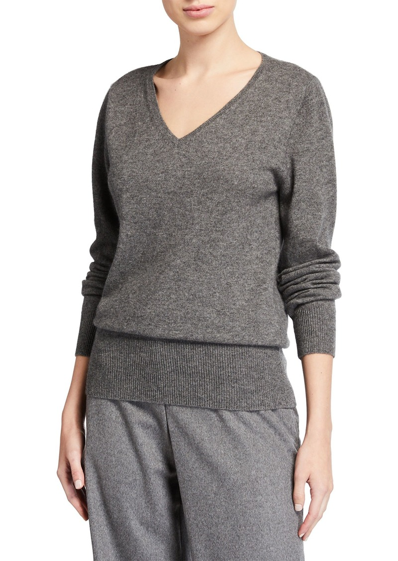 Neiman Marcus Relaxed V-Neck Cashmere Sweater