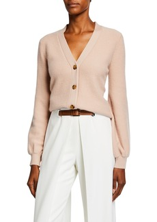 Neiman Marcus Reverse Jersey V-Neck Button-Front Cashmere Cardigan