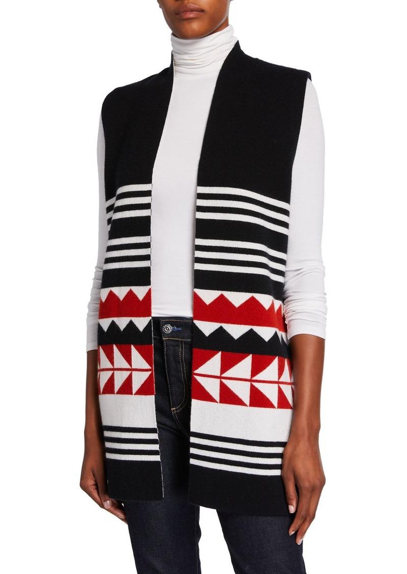 Neiman Marcus Reversible Cashmere Geometric Striped Vest