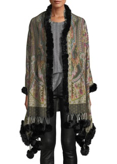 Neiman Marcus Reversible Wool Wrap w Fur Trim and Pompoms 5e5bf5929032