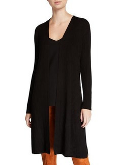Neiman Marcus Rib Knit Wool-Blend Duster Cardigan