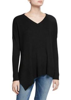 Neiman Marcus Ribbed Asymmetric-Hem Sweater