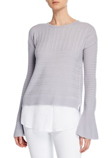 Neiman Marcus Ribbed Bell-Sleeve Twofer Sweater Shirt