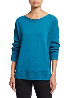 Neiman Marcus Ribbed Boat-Neck Sweater
