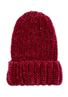 Neiman Marcus Ribbed Knit Beanie  Berry Red