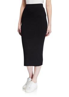 Neiman Marcus Ribbed Knit Midi Skirt