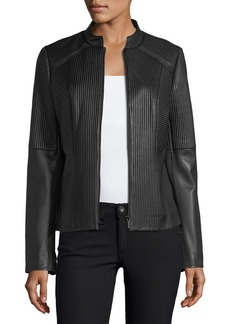 Neiman Marcus Ribbed Quilted Center-Zip Leather Moto Jacket