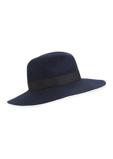 Neiman Marcus Ribbon-Trim Large Brim Wool Fedora