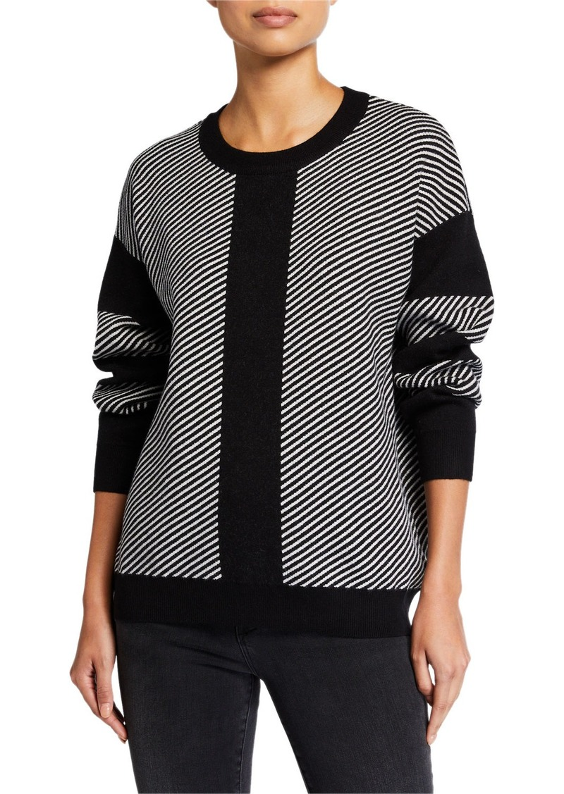 Neiman Marcus Round-Neck Stripped Sweater