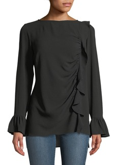 Neiman Marcus Ruched Front Bell-Sleeve Crepe Blouse