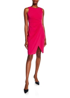 Neiman Marcus Ruched Sleeveless Sheath Dress
