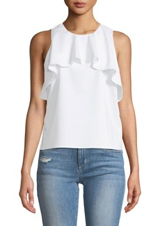 Neiman Marcus Ruffle-Front High-Neck Blouse