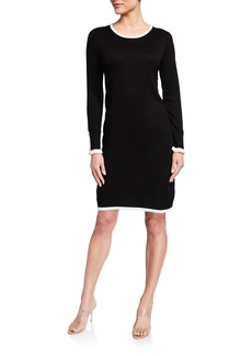 Neiman Marcus Ruffle-Sleeve Sheath Dress w/ Contrast Trim
