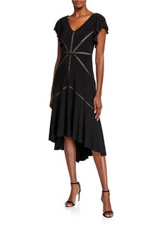 Neiman Marcus Ruffle-Sleeve Solid High-Low Dress
