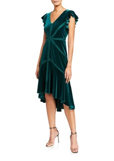 Neiman Marcus Ruffle-Sleeve Velvet Dress