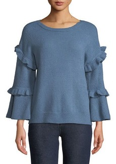 Neiman Marcus Ruffle-Tiered Bell-Sleeve Sweater
