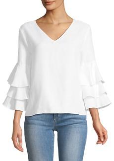 Neiman Marcus Ruffle-Tiered Sleeve Linen Blouse