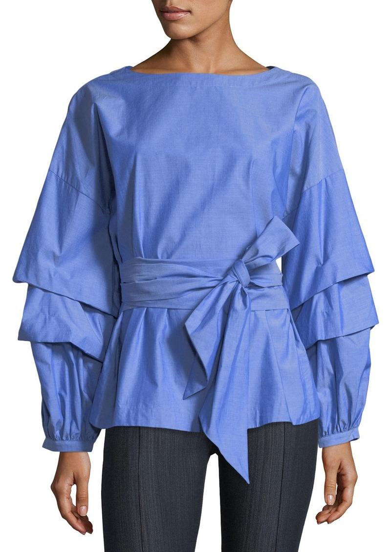Neiman Marcus Ruffle-Tiered Sleeve Poplin Blouse