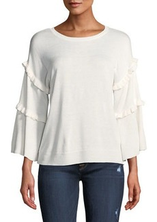 Neiman Marcus Ruffled Flounce-Sleeve Sweater