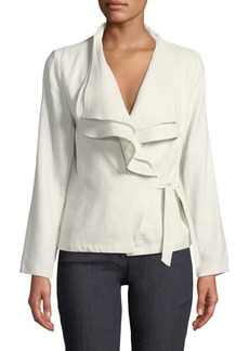 Neiman Marcus Ruffled-Linen Wrap Jacket