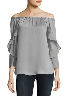 Neiman Marcus Ruffled Off-The-Shoulder Blouse