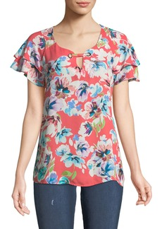 Neiman Marcus Ruffled-Sleeve Floral-Print Blouse