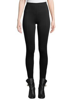 Neiman Marcus Seamed Straight-Fit Leggings